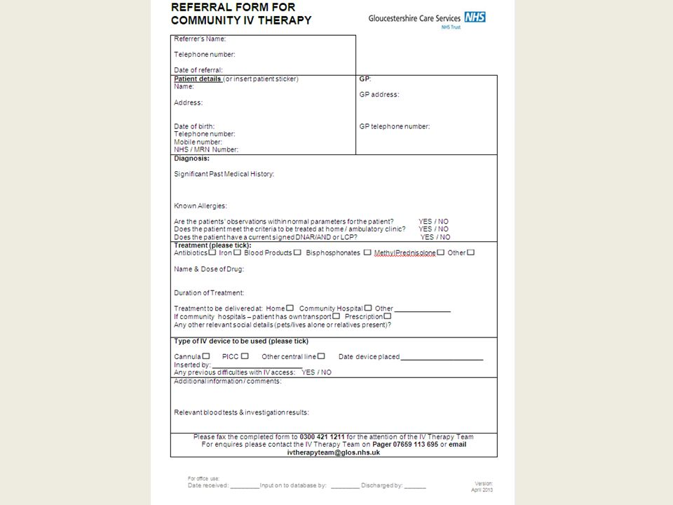 Electronic referral https://ivtrf.glos.nhs.uk/IVTRForm/Pages/IVTRForm.aspx