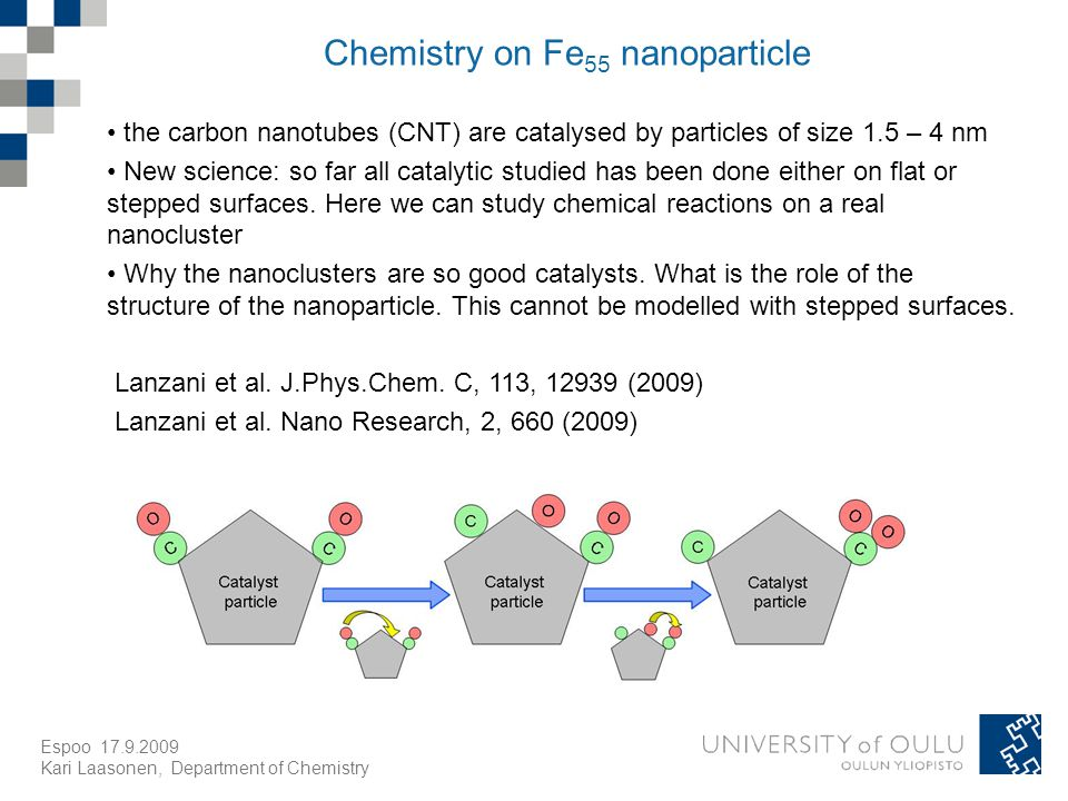 Espoo Kari Laasonen, Department of Chemistry Chemistry on Fe 55 nanoparticle the carbon nanotubes (CNT) are catalysed by particles of size 1.5 – 4 nm New science: so far all catalytic studied has been done either on flat or stepped surfaces.