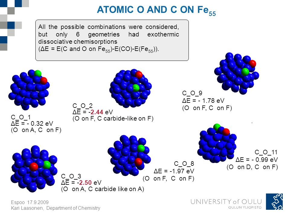 Espoo Kari Laasonen, Department of Chemistry ATOMIC O AND C ON Fe 55 All the possible combinations were considered, but only 6 geometries had exothermic dissociative chemisorptions (ΔE = E(C and O on Fe 55 )-E(CO)-E(Fe 55 )).