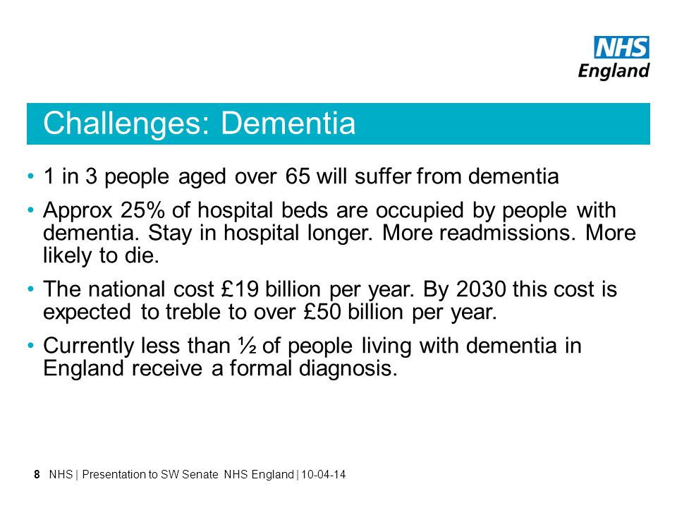 Challenges: Dementia 1 in 3 people aged over 65 will suffer from dementia Approx 25% of hospital beds are occupied by people with dementia.