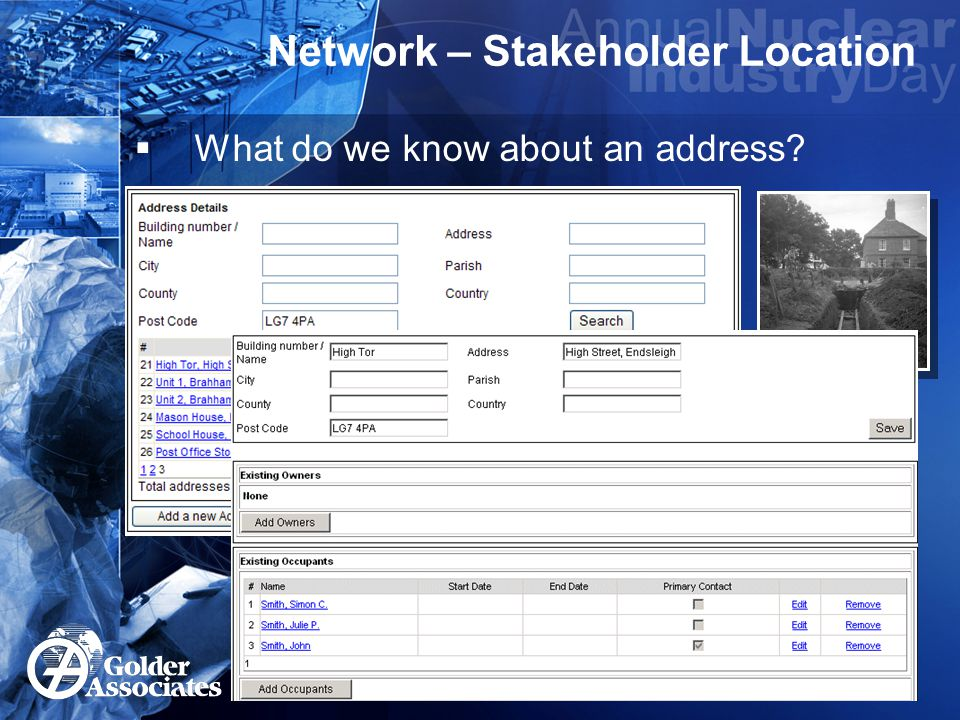 Network – Stakeholder Name  A Mr John Smith telephones..
