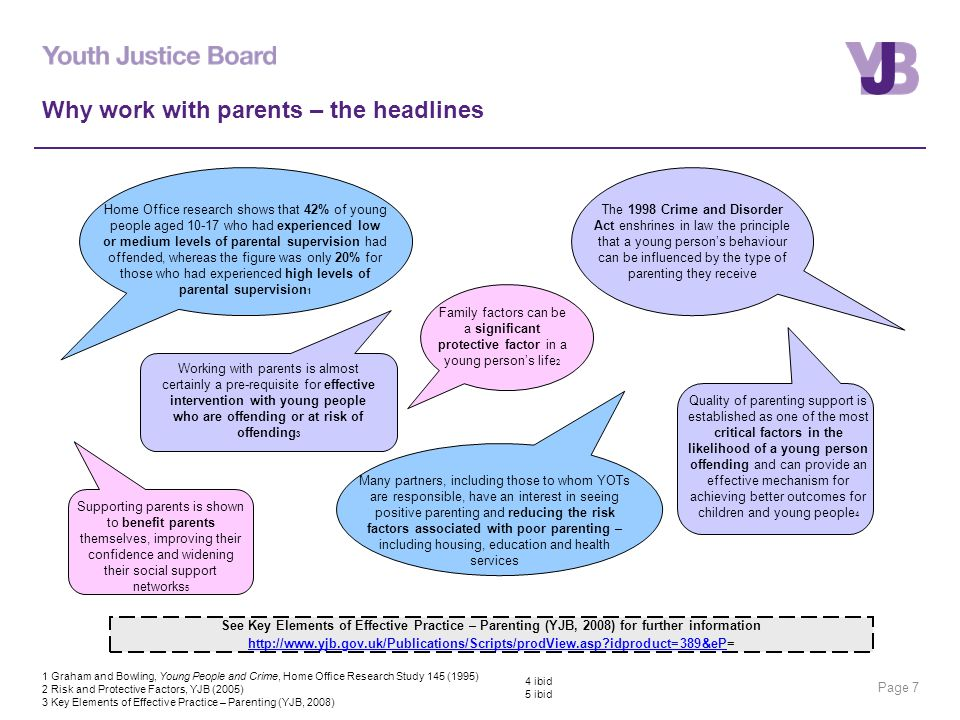 Page 7 Why work with parents – the headlines Home Office research shows that 42% of young people aged 10-17 who had experienced low or medium levels of parental supervision had offended, whereas the figure was only 20% for those who had experienced high levels of parental supervision 1 The 1998 Crime and Disorder Act enshrines in law the principle that a young person's behaviour can be influenced by the type of parenting they receive Quality of parenting support is established as one of the most critical factors in the likelihood of a young person offending and can provide an effective mechanism for achieving better outcomes for children and young people 4 Working with parents is almost certainly a pre-requisite for effective intervention with young people who are offending or at risk of offending 3 Supporting parents is shown to benefit parents themselves, improving their confidence and widening their social support networks 5 Many partners, including those to whom YOTs are responsible, have an interest in seeing positive parenting and reducing the risk factors associated with poor parenting – including housing, education and health services Family factors can be a significant protective factor in a young person's life 2 1 Graham and Bowling, Young People and Crime, Home Office Research Study 145 (1995) 2 Risk and Protective Factors, YJB (2005) 3 Key Elements of Effective Practice – Parenting (YJB, 2008) See Key Elements of Effective Practice – Parenting (YJB, 2008) for further information http://www.yjb.gov.uk/Publications/Scripts/prodView.asp?idproduct=389&ePhttp://www.yjb.gov.uk/Publications/Scripts/prodView.asp?idproduct=389&eP= 4 ibid 5 ibid
