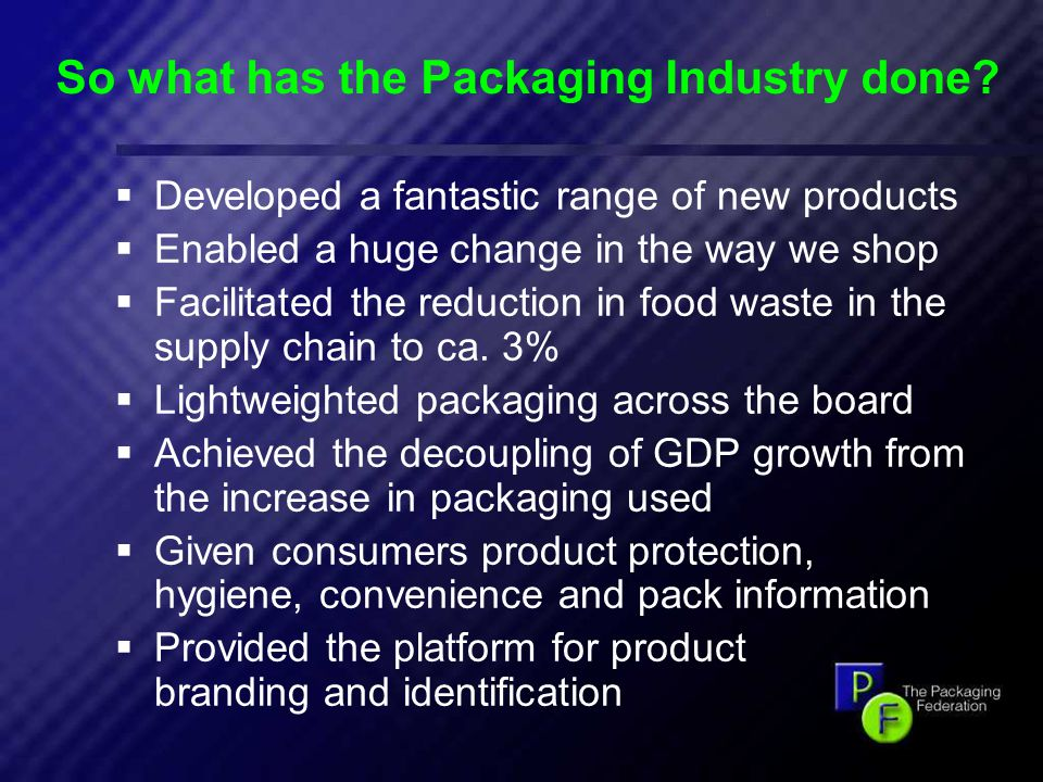 12 So what has the Packaging Industry done.