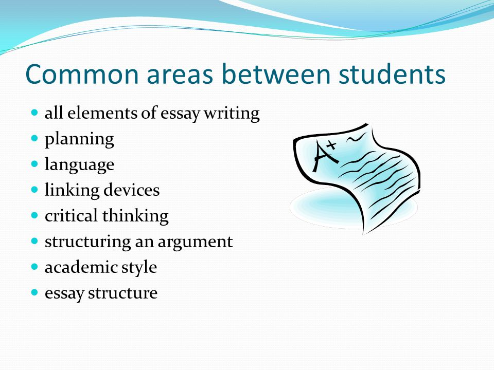 Common areas between students all elements of essay writing planning language linking devices critical thinking structuring an argument academic style