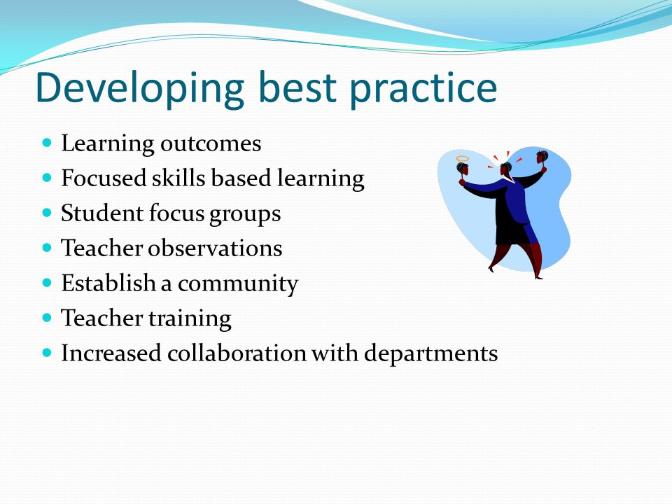 Developing best practice Learning outcomes Focused skills based learning Student focus groups Teacher observations Establish a community Teacher train