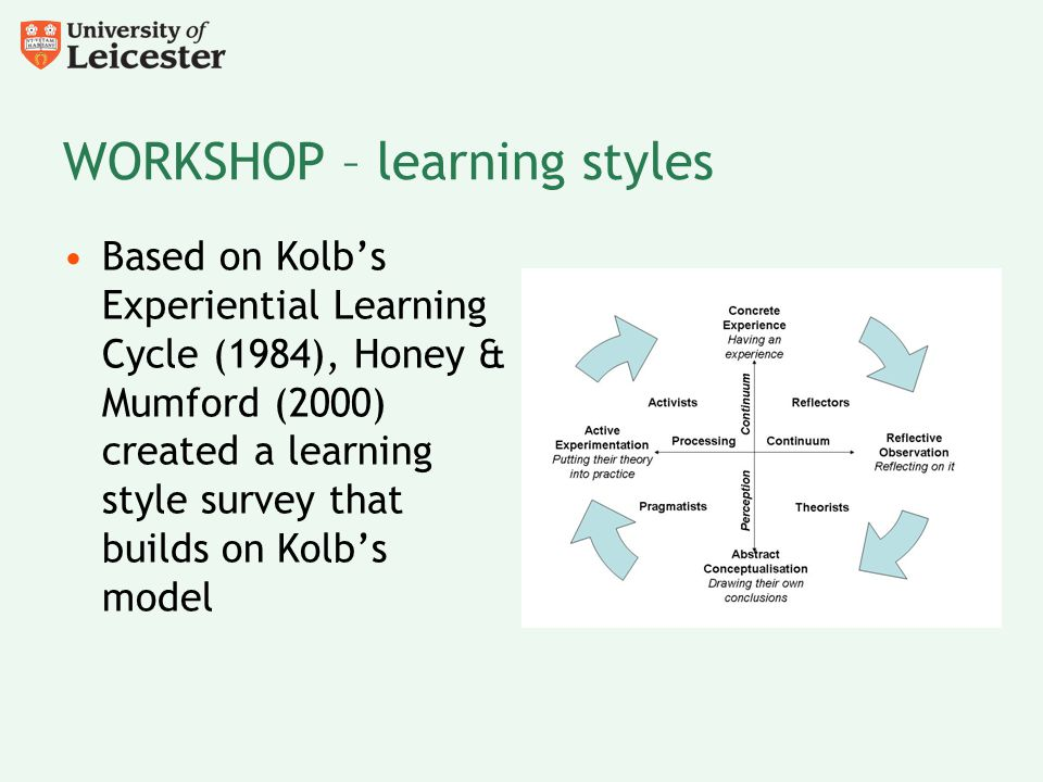 WORKSHOP – learning styles Based on Kolb's Experiential Learning Cycle (1984), Honey & Mumford (2000) created a learning style survey that builds on K
