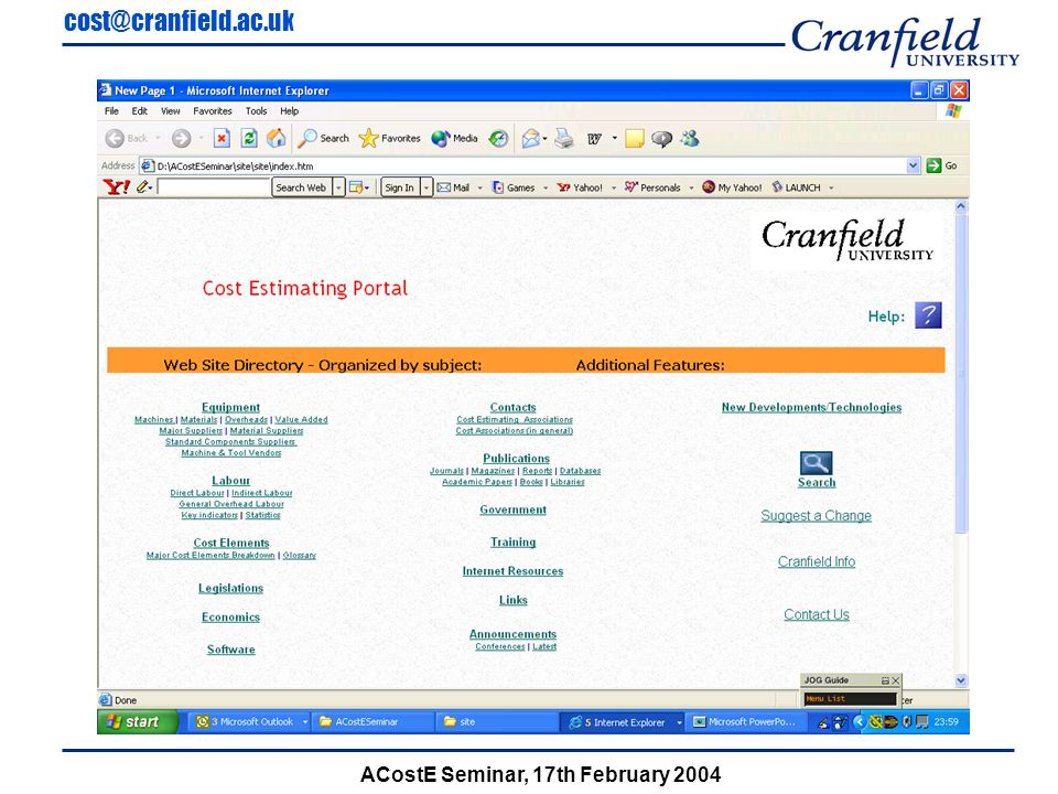 cost@cranfield.ac.uk ACostE Seminar, 17th February 2004