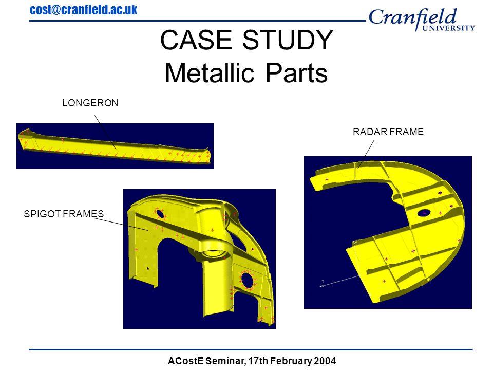 cost@cranfield.ac.uk ACostE Seminar, 17th February 2004 CASE STUDY Metallic Parts LONGERON RADAR FRAME SPIGOT FRAMES
