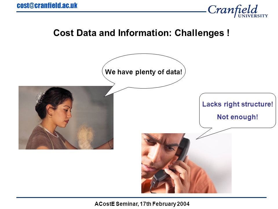 cost@cranfield.ac.uk ACostE Seminar, 17th February 2004 Cost Estimating Relationships (CER) Total Time = Q N Time + Q L Time + Allocations Feature Approach Total Time = C11 + C12(Mass) + C13(Surface Related) + Allocations CATIA Approach Total Time = C14 + C15(Mass) + C16(Surface Related) + Allocations C11 … C16 are constants