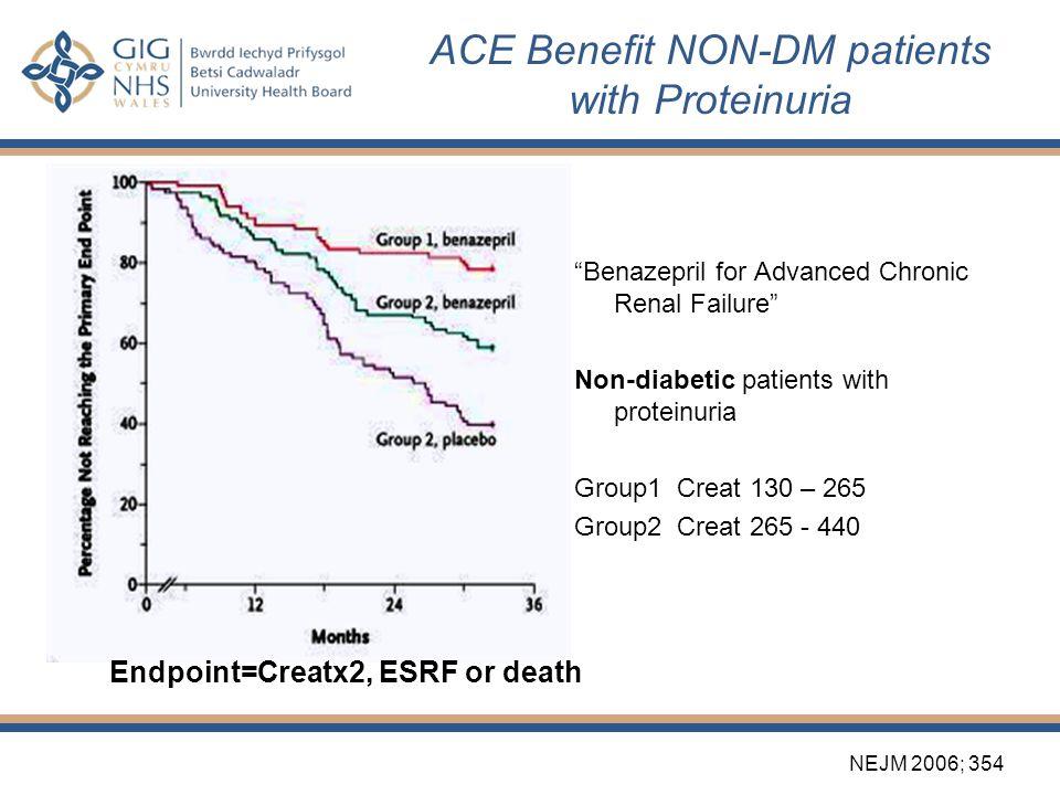 "ACE Benefit NON-DM patients with Proteinuria ""Benazepril for Advanced Chronic Renal Failure"" Non-diabetic patients with proteinuria Group1 Creat 130 –"