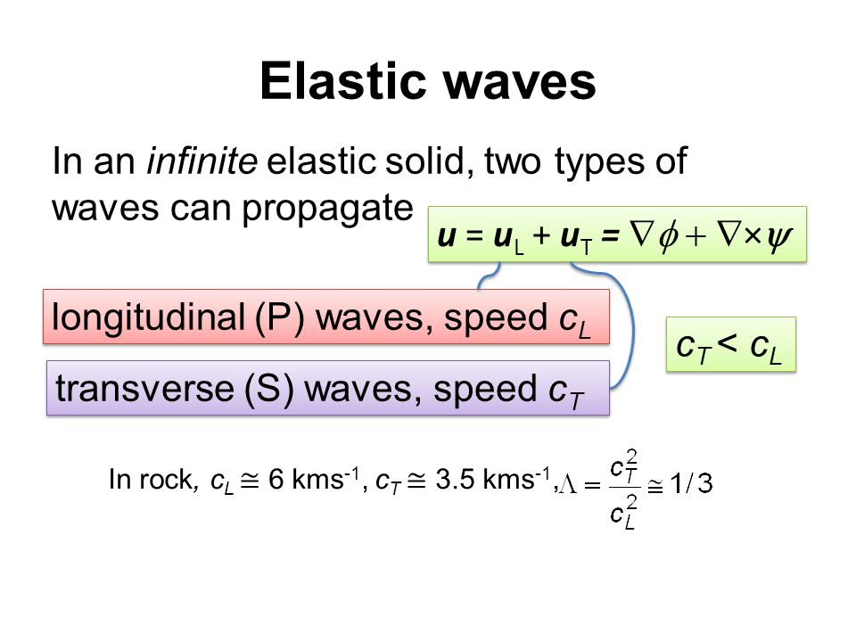 Elastic waves In an infinite elastic solid, two types of waves can propagate u = u L + u T =  ×  longitudinal (P) waves, speed c L transverse (S) waves, speed c T c T < c L In rock, c L ≅ 6 kms -1, c T ≅ 3.5 kms -1,