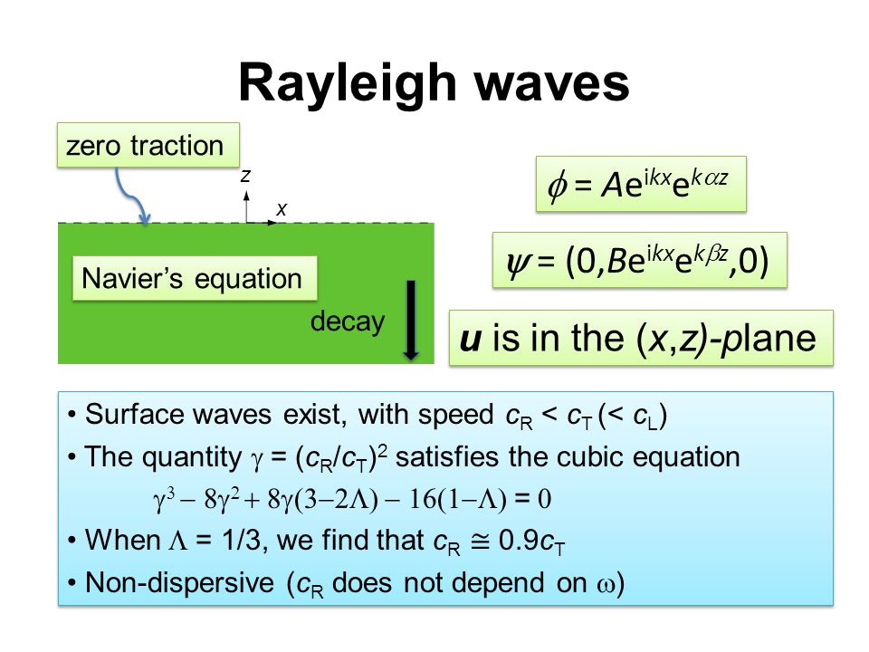 Rayleigh waves z x  = Ae ikx e k  z  = (0,Be ikx e k  z,0) Navier's equation zero traction decay u is in the (x,z)-plane Surface waves exist, with speed c R < c T (< c L ) The quantity  =  (c R /c T ) 2 satisfies the cubic equation      =  When  = 1/3, we find that c R ≅ 0.9c T Non-dispersive (c R does not depend on  ) Surface waves exist, with speed c R < c T (< c L ) The quantity  =  (c R /c T ) 2 satisfies the cubic equation      =  When  = 1/3, we find that c R ≅ 0.9c T Non-dispersive (c R does not depend on  )
