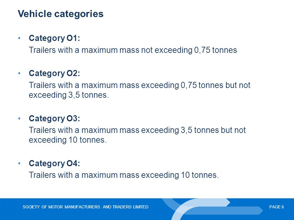 SOCIETY OF MOTOR MANUFACTURERS AND TRADERS LIMITEDPAGE 6 Vehicle categories Category O1: Trailers with a maximum mass not exceeding 0,75 tonnes Category O2: Trailers with a maximum mass exceeding 0,75 tonnes but not exceeding 3,5 tonnes.