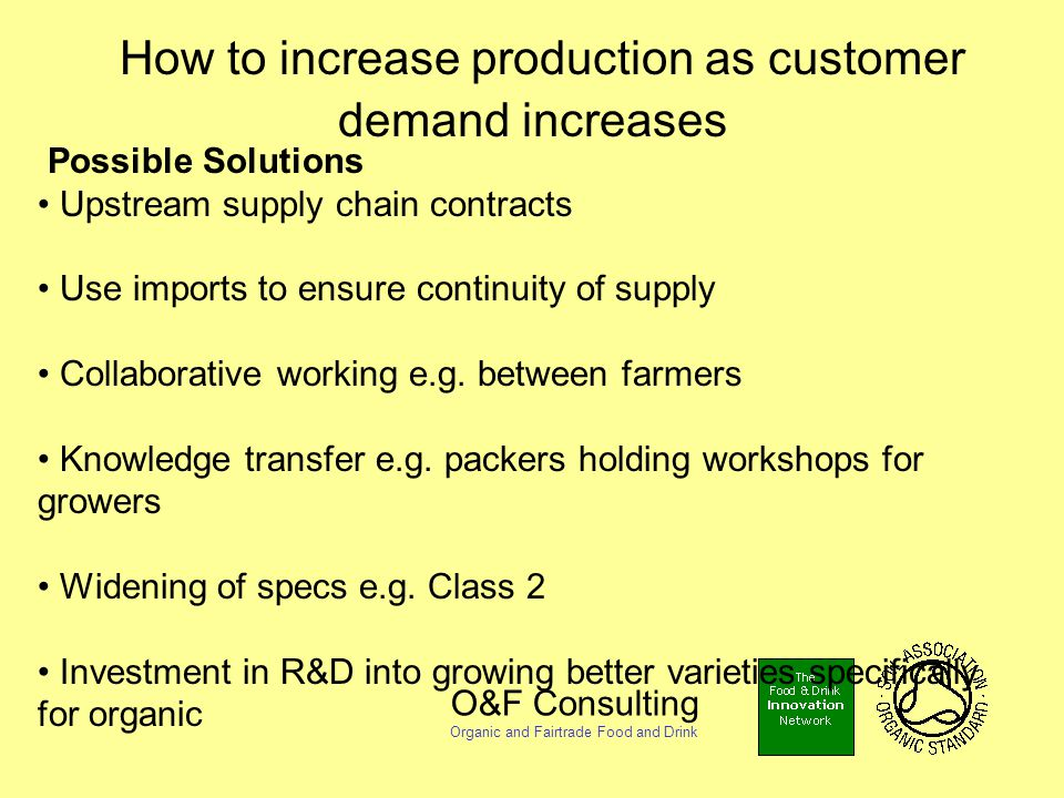 O&F Consulting Organic and Fairtrade Food and Drink How to increase production as customer demand increases Possible Solutions Upstream supply chain contracts Use imports to ensure continuity of supply Collaborative working e.g.