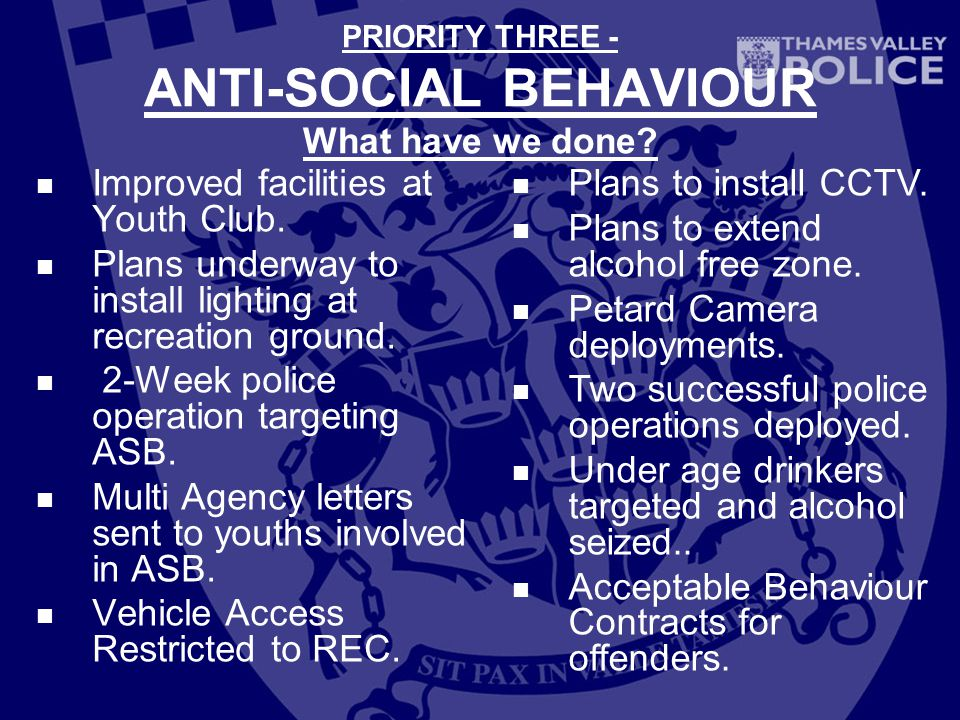 PRIORITY THREE - ANTI-SOCIAL BEHAVIOUR What have we done.