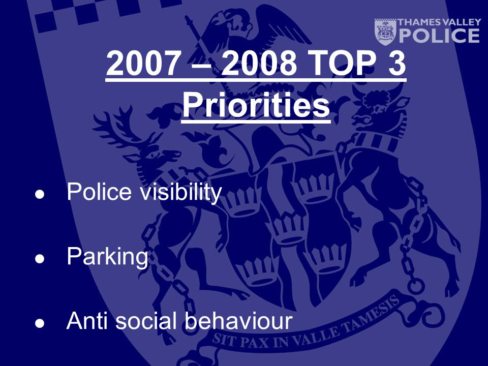 2007 – 2008 TOP 3 Priorities Police visibility Parking Anti social behaviour