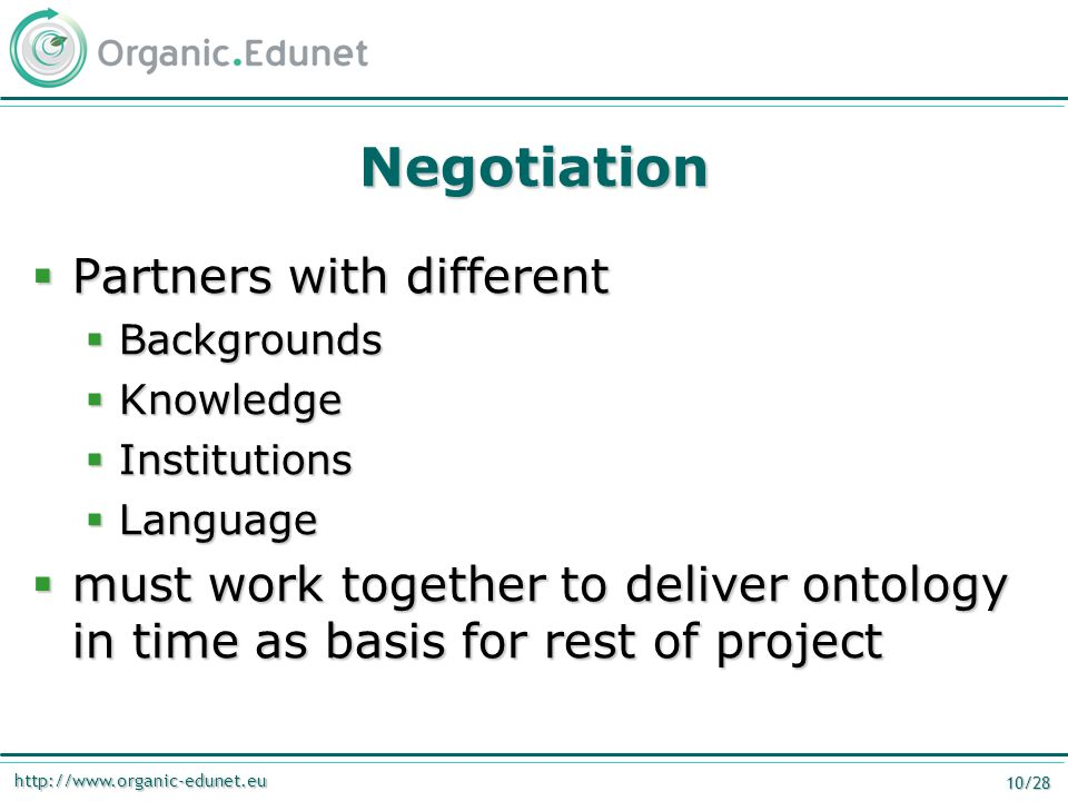 http://www.organic-edunet.eu 10/28 Negotiation  Partners with different  Backgrounds  Knowledge  Institutions  Language  must work together to deliver ontology in time as basis for rest of project
