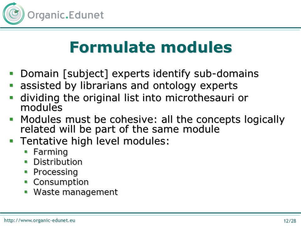 http://www.organic-edunet.eu 12/28 Formulate modules  Domain [subject] experts identify sub-domains  assisted by librarians and ontology experts  d