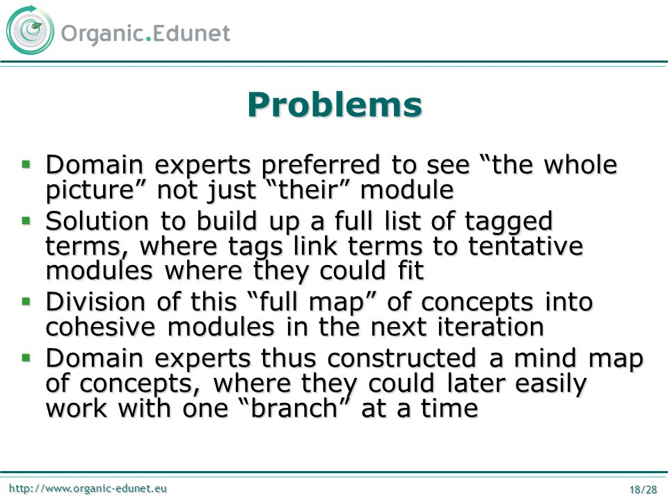 http://www.organic-edunet.eu 18/28 Problems  Domain experts preferred to see the whole picture not just their module  Solution to build up a full list of tagged terms, where tags link terms to tentative modules where they could fit  Division of this full map of concepts into cohesive modules in the next iteration  Domain experts thus constructed a mind map of concepts, where they could later easily work with one branch at a time