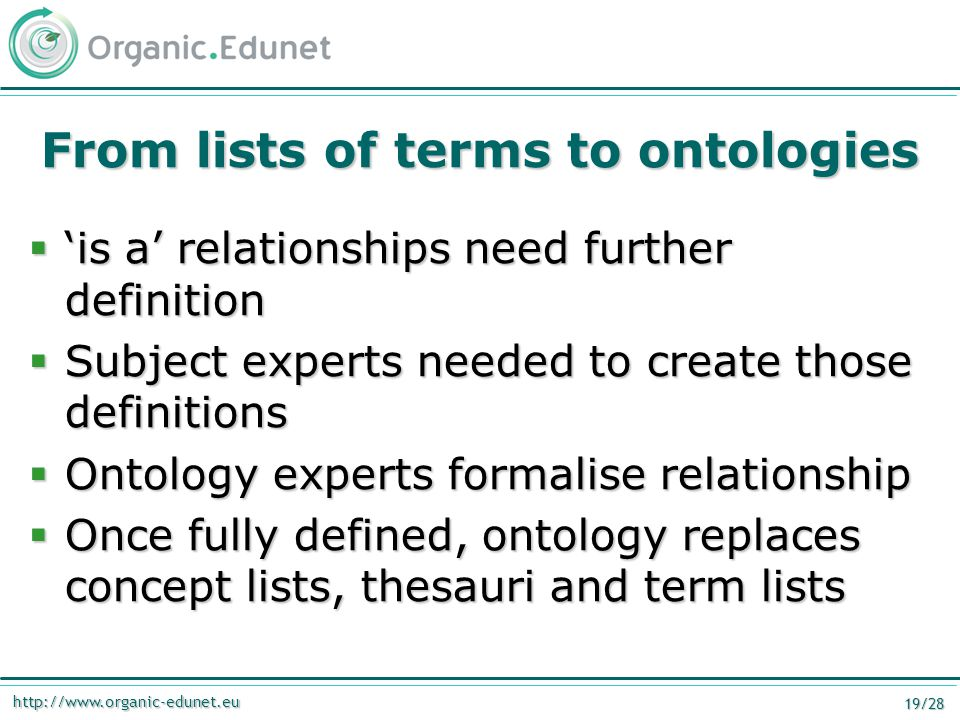 http://www.organic-edunet.eu 19/28 From lists of terms to ontologies  'is a' relationships need further definition  Subject experts needed to create those definitions  Ontology experts formalise relationship  Once fully defined, ontology replaces concept lists, thesauri and term lists