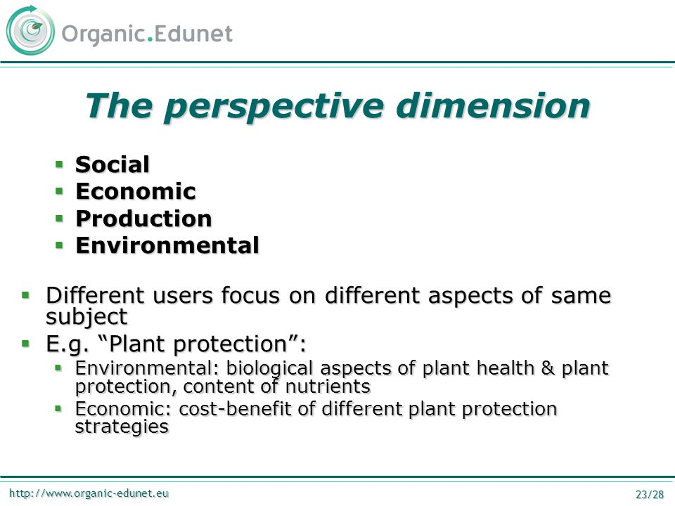 http://www.organic-edunet.eu 23/28 The perspective dimension  Social  Economic  Production  Environmental  Different users focus on different aspects of same subject  E.g.