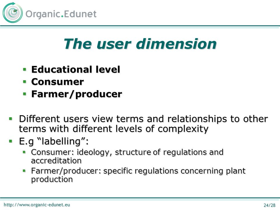 http://www.organic-edunet.eu 24/28 The user dimension  Educational level  Consumer  Farmer/producer  Different users view terms and relationships
