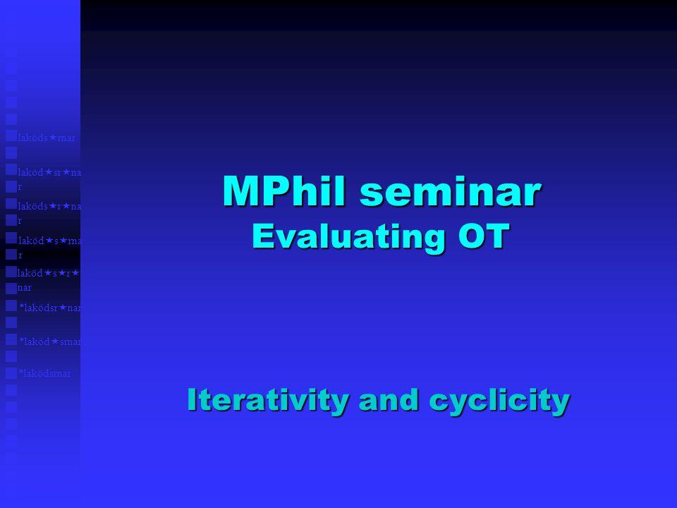 MPhil seminar Evaluating OT Iterativity and cyclicity *laköd  srnar laköds  rnar laköd  sr  na r laköds  r  na r laköd  s  rna r *laködsrnar laköd  s  r  nar *laködsr  nar