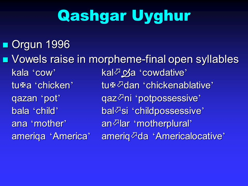 Qashgar Uyghur Orgun 1996 Orgun 1996 Vowels raise in morpheme-final open syllables Vowels raise in morpheme-final open syllables kala ' cow ' kal  ­  a ' cow ­ dative ' tuXa ' chicken ' tuX  ­ dan ' chicken ­ ablative ' qazan ' pot ' qaz  n ­ i ' pot ­ possessive ' bala ' child ' bal  ­ si ' child ­ possessive ' ana ' mother ' an  ­ lar ' mother ­ plural ' ameriqa ' America ' ameriq  ­ da ' America ­ locative '