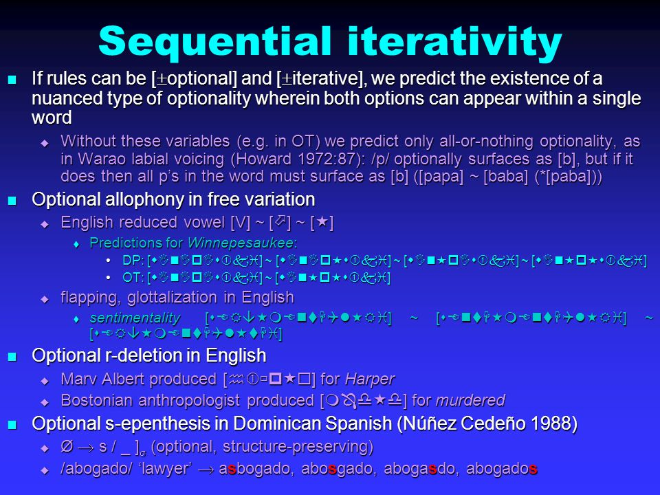 Sequential iterativity If rules can be [  optional] and [  iterative], we predict the existence of a nuanced type of optionality wherein both options can appear within a single word If rules can be [  optional] and [  iterative], we predict the existence of a nuanced type of optionality wherein both options can appear within a single word  Without these variables (e.g.