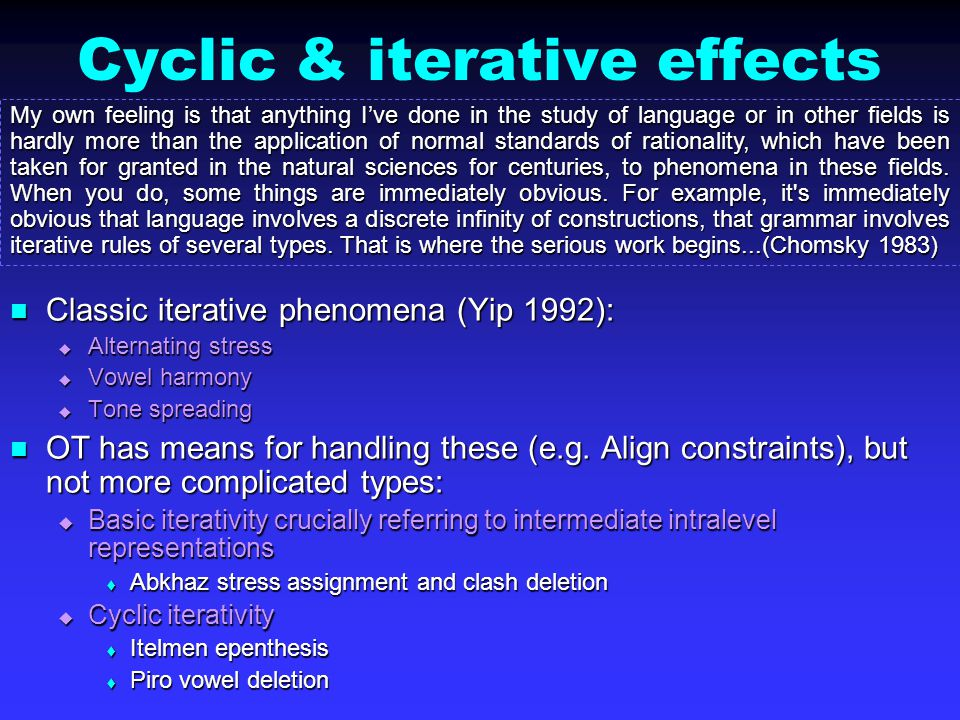 Cyclic & iterative effects Classic iterative phenomena (Yip 1992): Classic iterative phenomena (Yip 1992):  Alternating stress  Vowel harmony  Tone spreading OT has means for handling these (e.g.