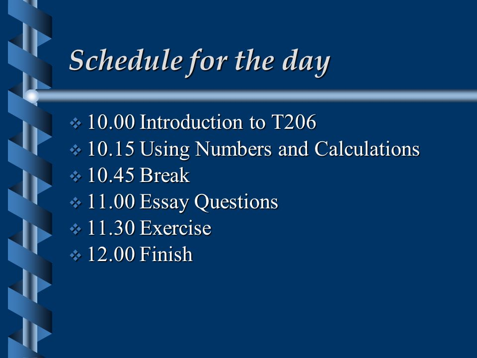 Schedule for the day  10.00 Introduction to T206  10.15 Using Numbers and Calculations  10.45 Break  11.00 Essay Questions  11.30 Exercise  12.00 Finish