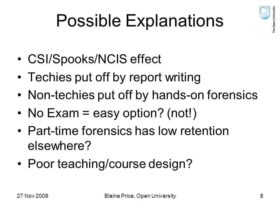 27 Nov 2008Blaine Price, Open University8 Possible Explanations CSI/Spooks/NCIS effect Techies put off by report writing Non-techies put off by hands-