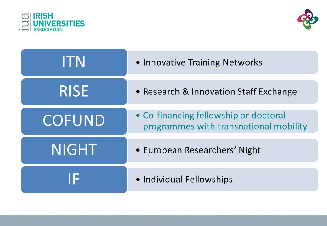 Innovative Training Networks ITN Research & Innovation Staff Exchange RISE Co-financing fellowship or doctoral programmes with transnational mobility