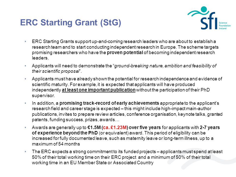 ERC Consolidator Grants were introduced in the 2013 round of funding.