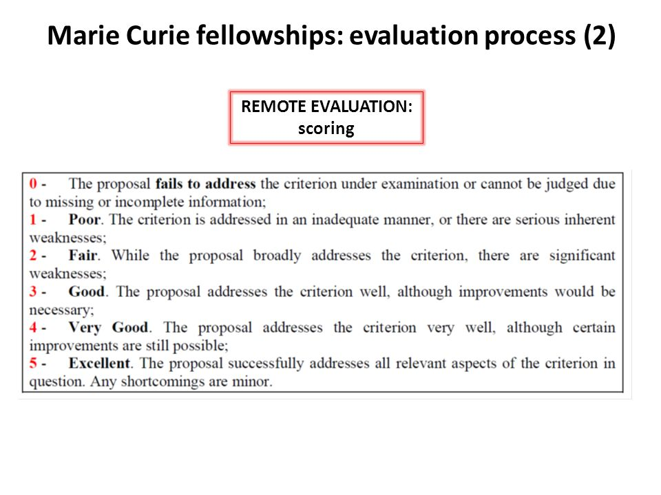 Marie Curie fellowships: evaluation process (2) REMOTE EVALUATION: criteria IEF/IOF Overall threshold of 70%