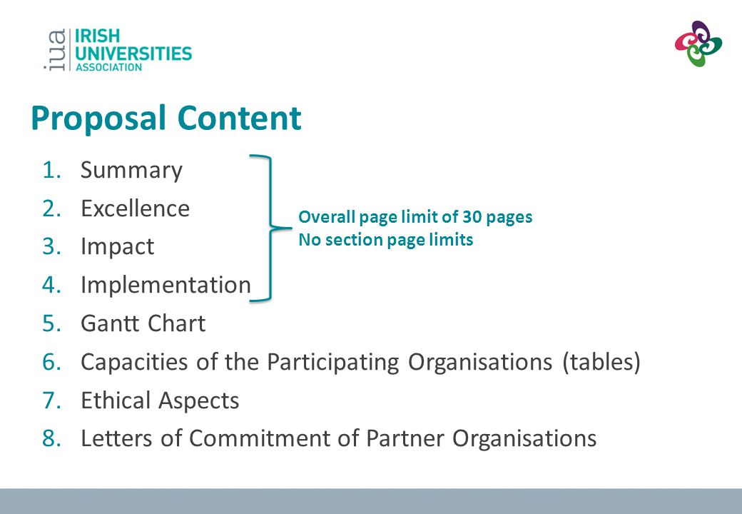 Proposal Content 1.Summary 2.Excellence 3.Impact 4.Implementation 5.Gantt Chart 6.Capacities of the Participating Organisations (tables) 7.Ethical Asp