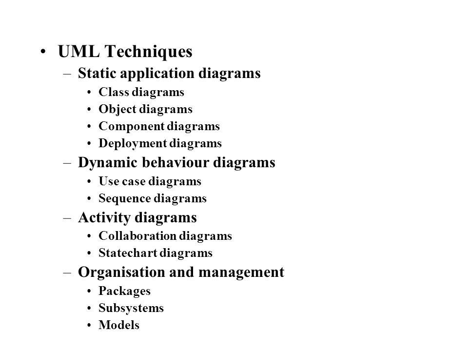 UML Techniques –Static application diagrams Class diagrams Object diagrams Component diagrams Deployment diagrams –Dynamic behaviour diagrams Use case diagrams Sequence diagrams –Activity diagrams Collaboration diagrams Statechart diagrams –Organisation and management Packages Subsystems Models
