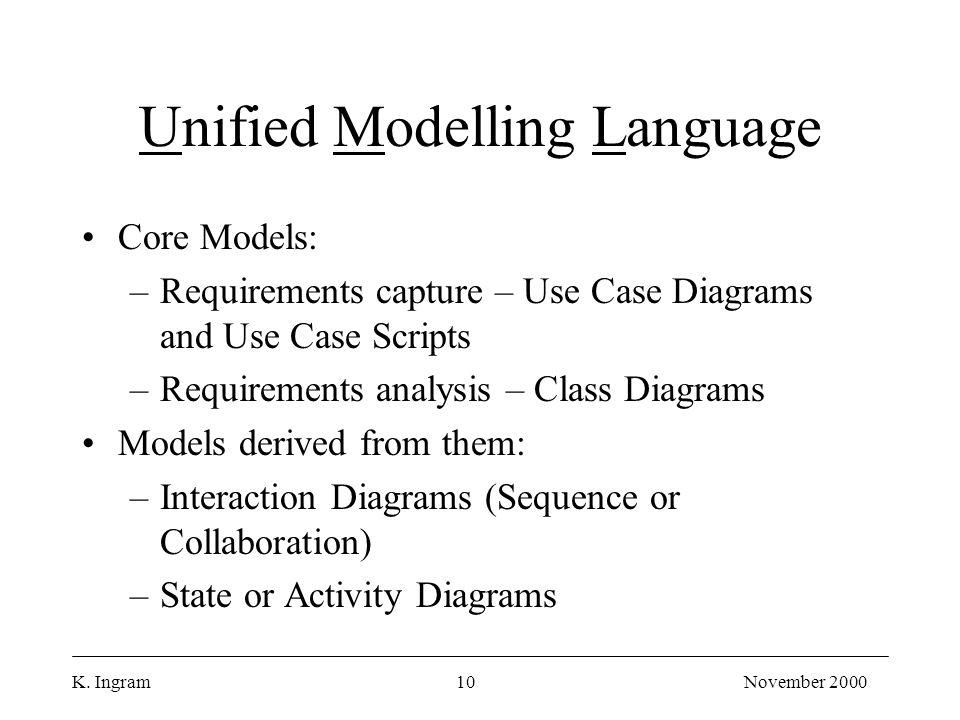 K. Ingram10November 2000 Unified Modelling Language Core Models: –Requirements capture – Use Case Diagrams and Use Case Scripts –Requirements analysis