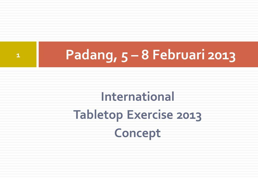 International Tabletop Exercise 2013 Concept Padang, 5 – 8 Februari 2013 1
