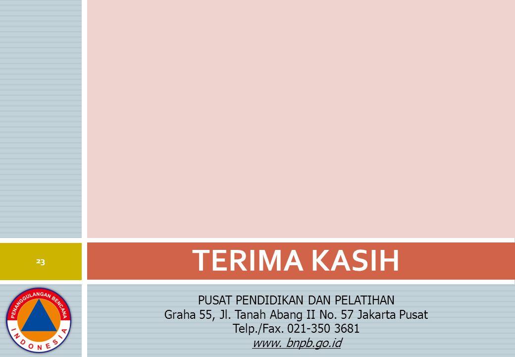 PUSAT PENDIDIKAN DAN PELATIHAN Graha 55, Jl. Tanah Abang II No. 57 Jakarta Pusat Telp./Fax. 021-350 3681 www. bnpb.go.id TERIMA KASIH 23