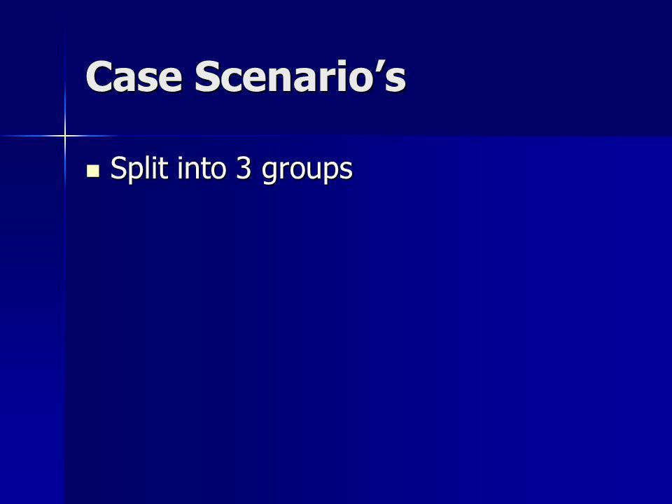 Case Scenario's Split into 3 groups Split into 3 groups