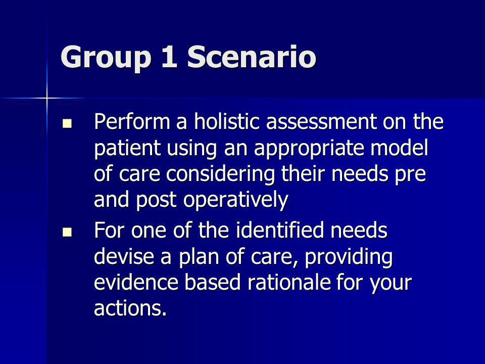 Group 1 Scenario Perform a holistic assessment on the patient using an appropriate model of care considering their needs pre and post operatively Perform a holistic assessment on the patient using an appropriate model of care considering their needs pre and post operatively For one of the identified needs devise a plan of care, providing evidence based rationale for your actions.