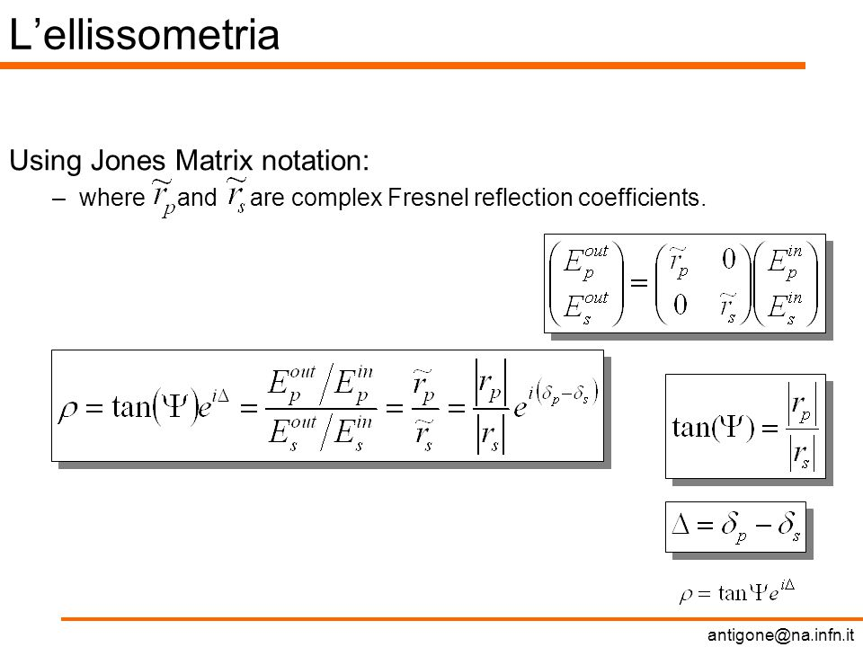 L'ellissometria Using Jones Matrix notation: –where and are complex Fresnel reflection coefficients.