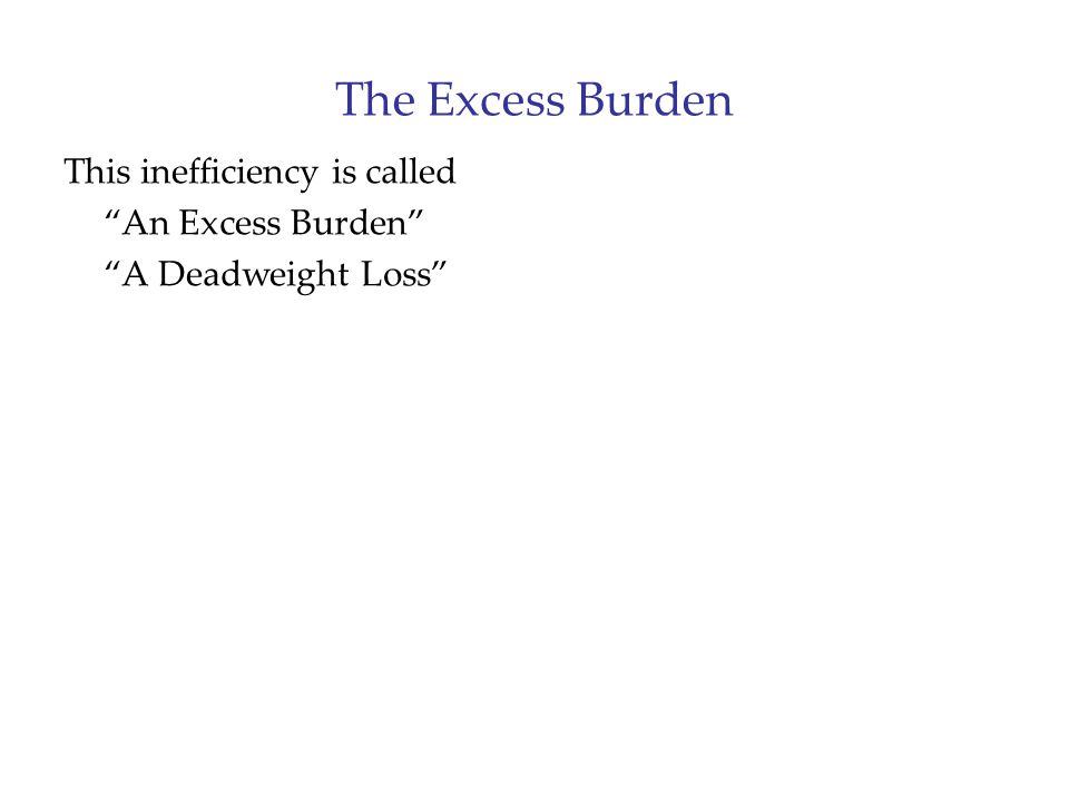 "The Excess Burden This inefficiency is called ""An Excess Burden"" ""A Deadweight Loss"""