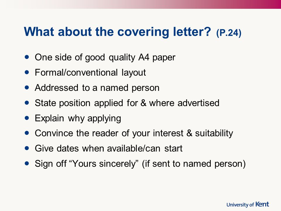 What about the covering letter.