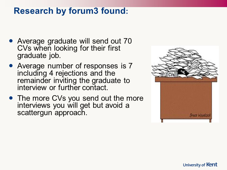 Research by forum3 found : Average graduate will send out 70 CVs when looking for their first graduate job. Average number of responses is 7 including