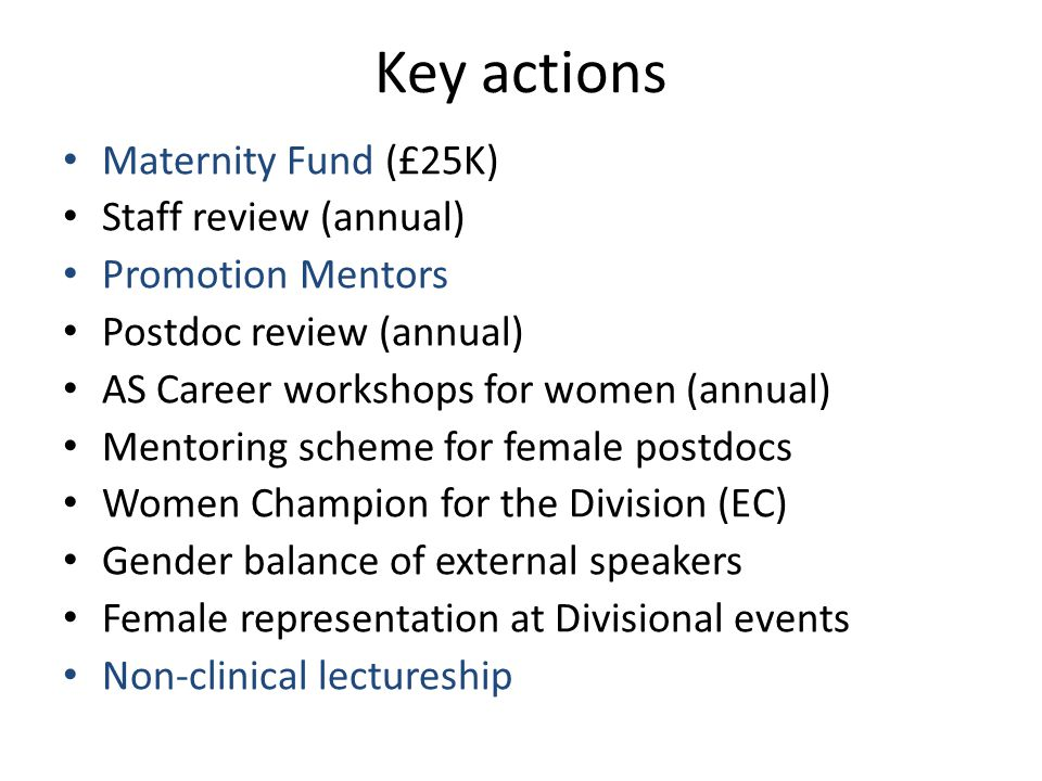 Key actions Maternity Fund (£25K) Staff review (annual) Promotion Mentors Postdoc review (annual) AS Career workshops for women (annual) Mentoring scheme for female postdocs Women Champion for the Division (EC) Gender balance of external speakers Female representation at Divisional events Non-clinical lectureship
