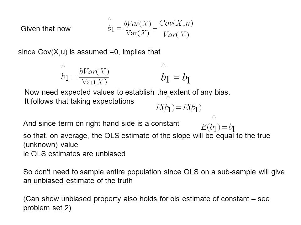 How to obtain estimates by OLS Goodness of fit measure, R 2 Bias & Efficiency of OLS Hypothesis testing