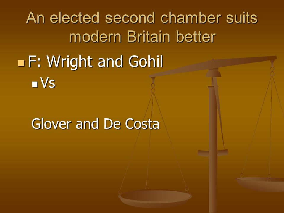 An elected second chamber suits modern Britain better F: Wright and Gohil F: Wright and Gohil Vs Vs Glover and De Costa
