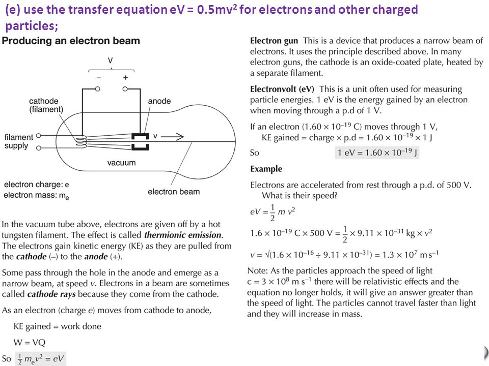 Mr Powell 2012 Index (e) use the transfer equation eV = 0.5mv 2 for electrons and other charged particles;